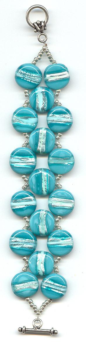 Turquoise Silver Foil Disc Bracelet