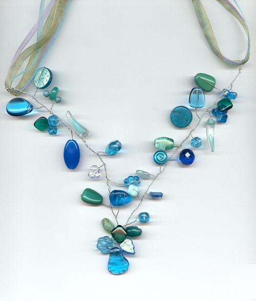 Aqua Marine Twisted Wire Necklace | ibeadmag.com